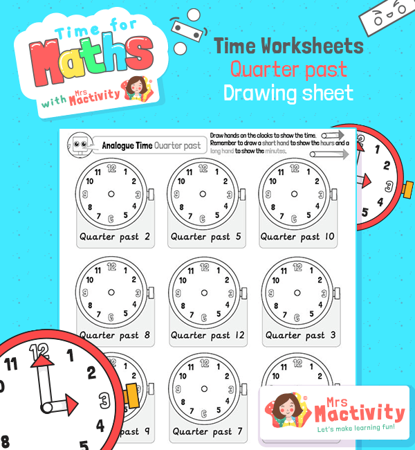 maths quarter past worksheet
