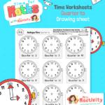 Maths time drawing Quarter TO Worksheet BW