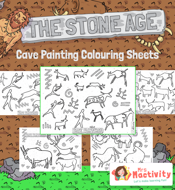 Stone Age Colouring Sheets Cave paintings