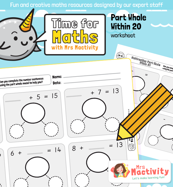 Related Number Facts - Part Whole Addition and Subtraction Within 20 Worksheets