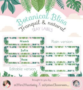 Botanical Bliss Tray Display Labels (Katie's Classroom Range)