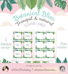 Botanical Bliss Square Display Labels (Katie's Classroom Range)