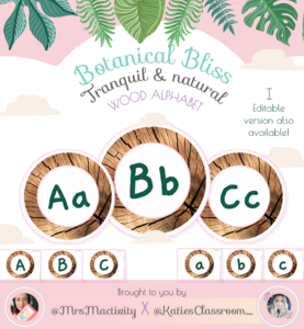 Botanical Bliss Wooden Display Alphabet - (Katie's Classroom Range)