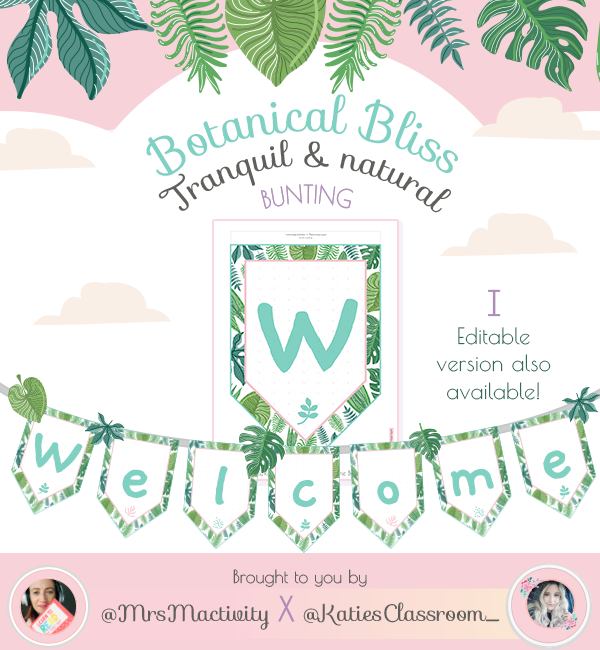 Botanical Display Welcome Bunting COLOUR