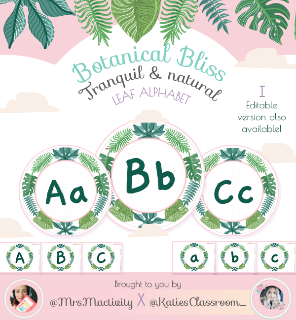Botanical Bliss Display Alphabet Discs - (Katie's Classroom Range)