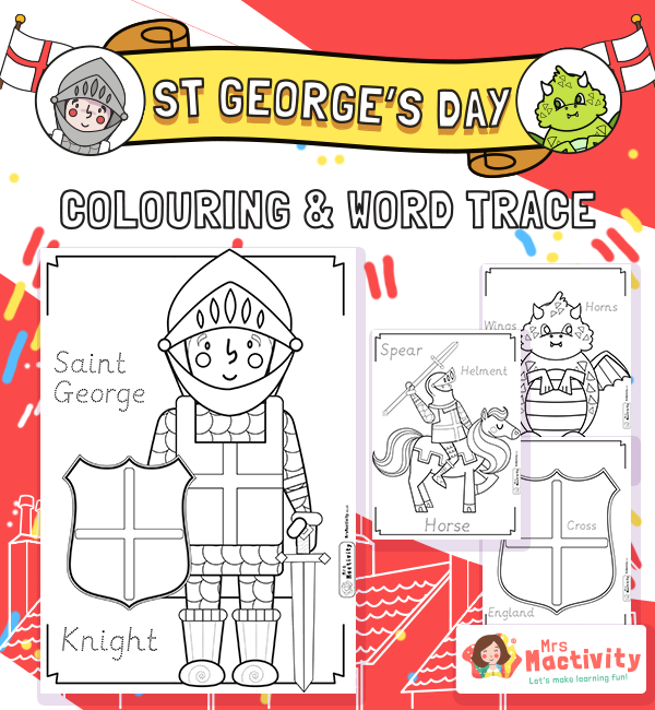 st georges day Colouring Word trace