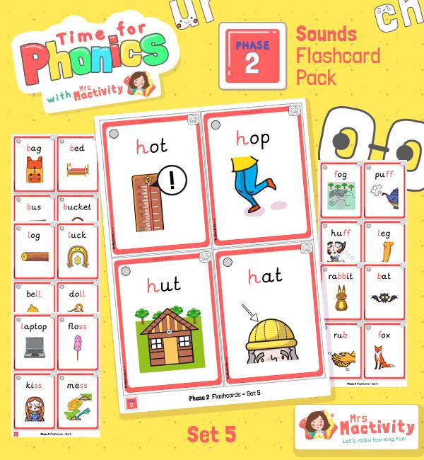 Phase 2 Set 5 Words Phonics Flashcards