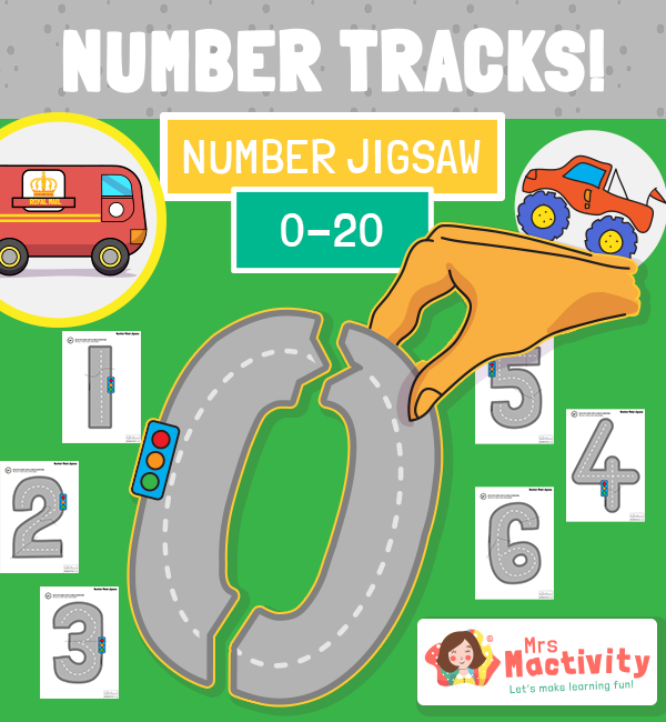 Number Tracks Number Tracing Jigsaw Activity
