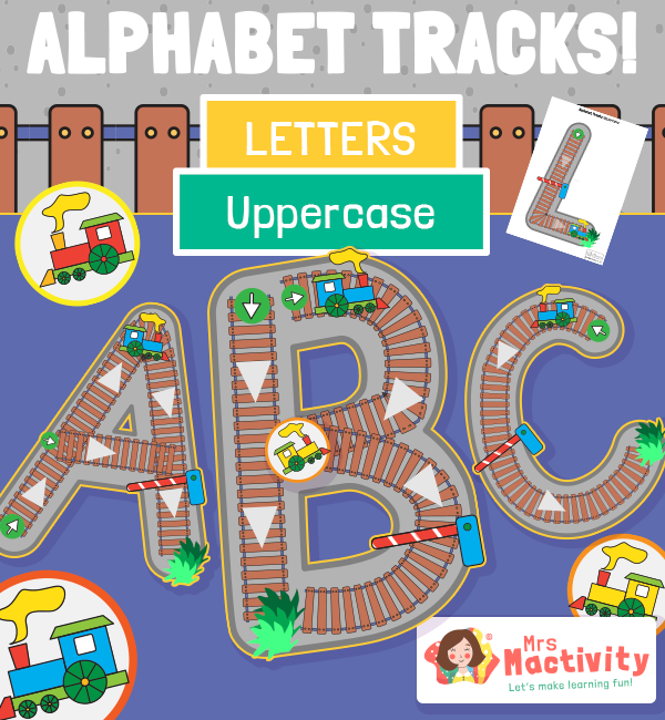 Upper Case Alphabet Train Track Tracing Activity