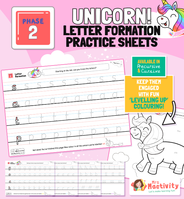 Phase 2 Letter Formation Practice Sheets - Unicorn Themed