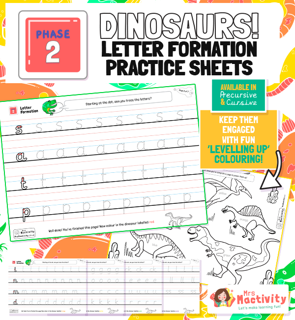 Phase 2 Letter Formation Practice Sheets - Dinosaur Themed