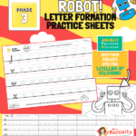 Phase 3 Letter Formation Practice Sheets - Robot Themed