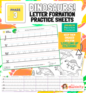 Phase 3 Letter Formation Practice Sheets - Dinosaur Themed