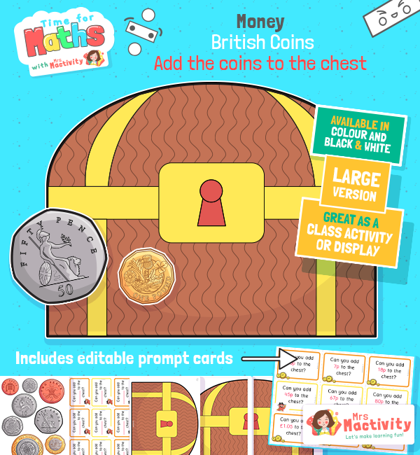 Add Money to the Pirate Treasure Chest Whole Class Teaching Version