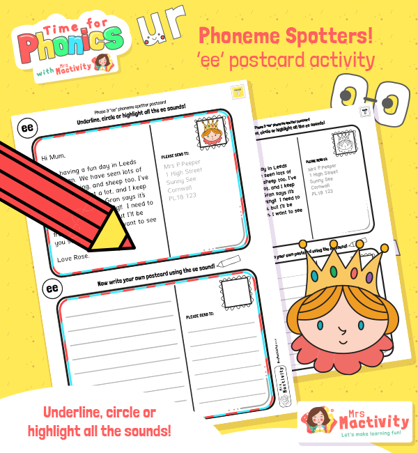 Phonics Phase 3 Phoneme Spotters EE Postcards
