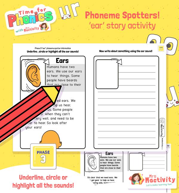 """""""ear"""" Phoneme Spotter Non-Fiction Text"""