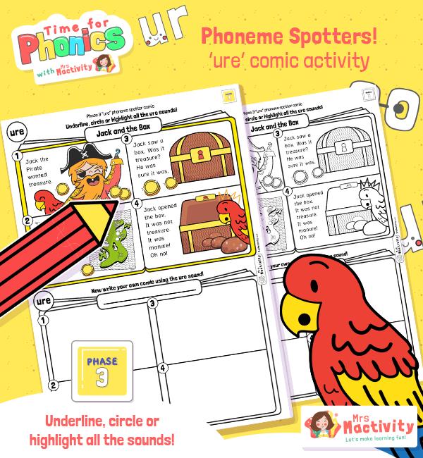 """ure"" Phoneme Spotter Comic Story"