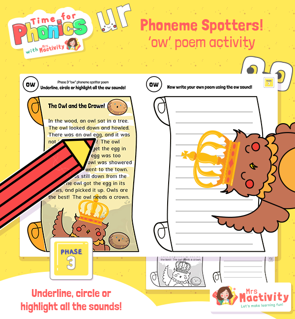 """""""ow"""" Phoneme Spotter Story"""