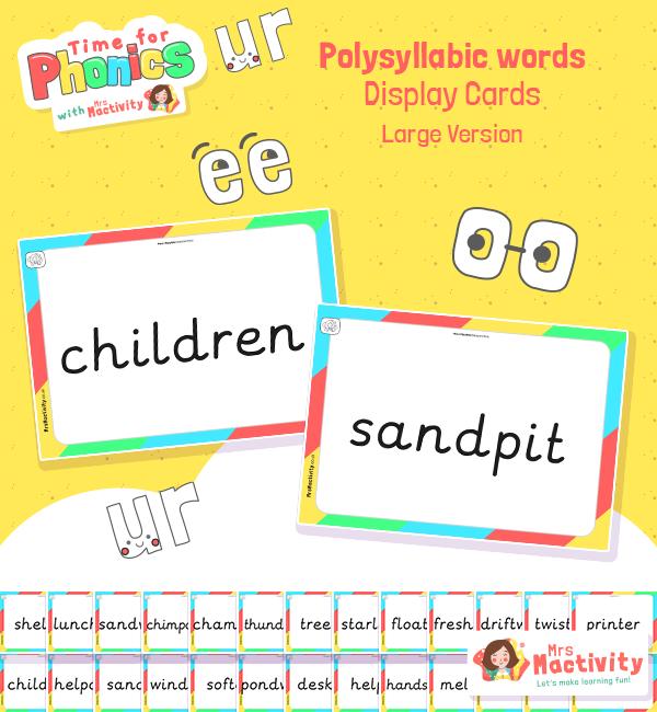 Phase 4 Polysyllabic Word Cards - Large