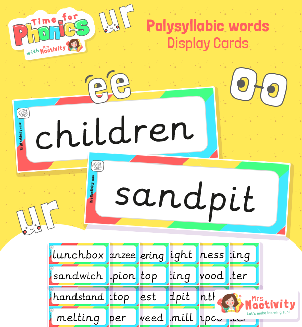 Phase 4 Polysyllabic Word Cards - Smaller