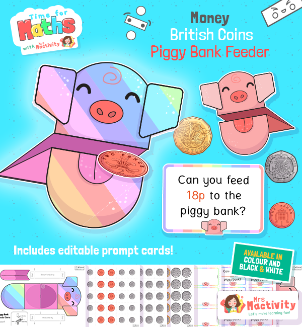 Piggy Bank Feeder Money Activity