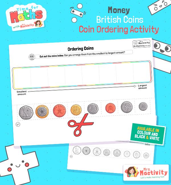 British Coin Ordering Activity Worksheet