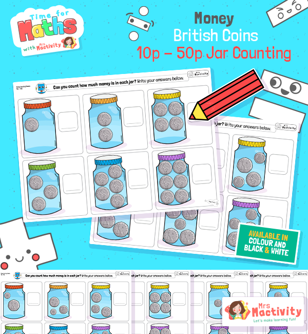 How Much Money is in the Jar Activity - 10-50p