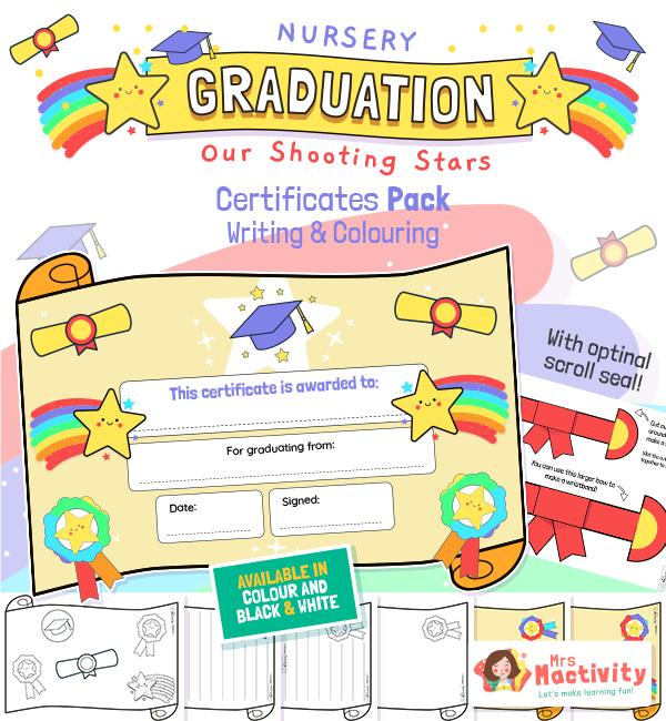 Nursery Graduation Scroll Certificates