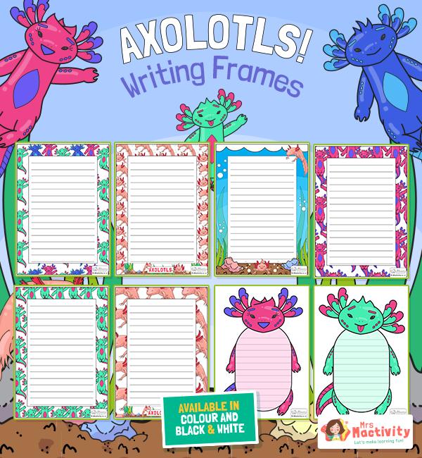 Axolotl Writing Borders Frames