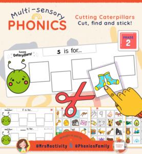 Phase 2 Cutting Caterpillars Activity - Phonics Family Range