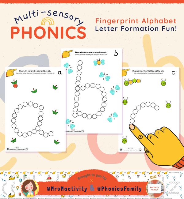 Fingerprint Alphabet Activity - Phonics Family Range