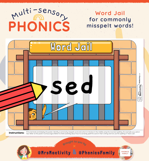 Word Jail Display Poster - Phonics Family Range