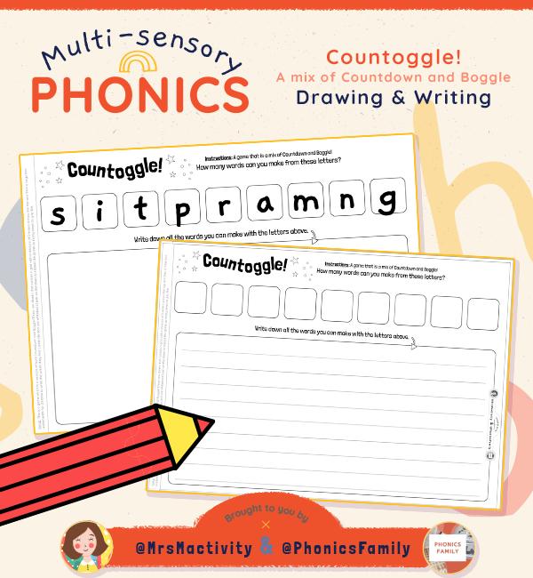 Countoggle Writing Game - Phonics Family Range