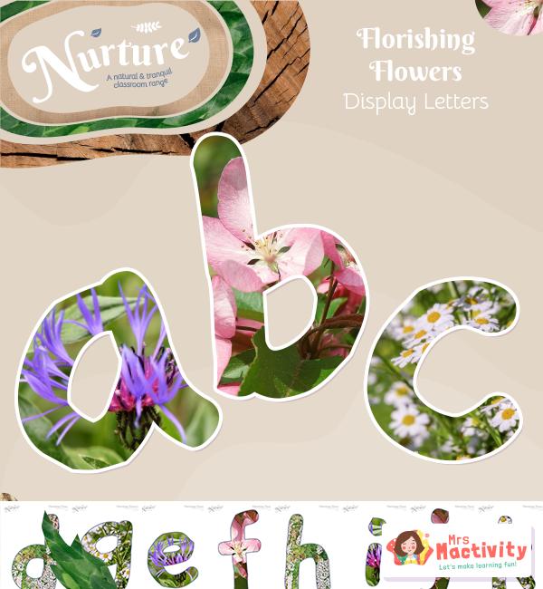 Flower themed display lettering