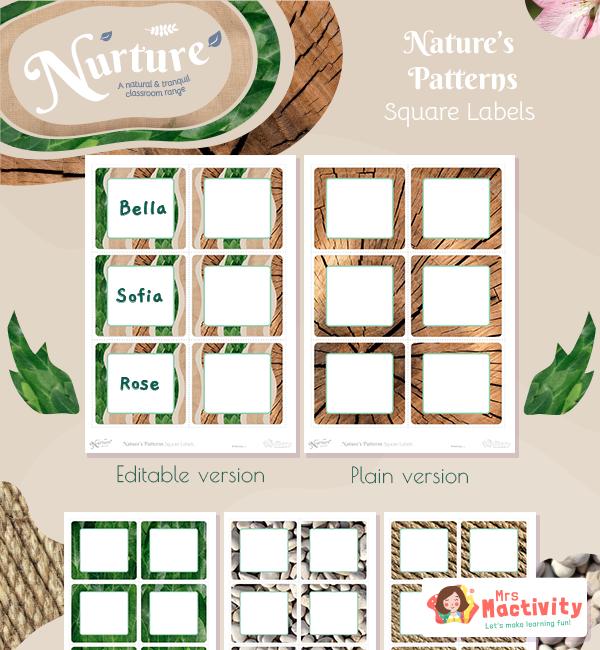 Display Nurture Square labels Patterns