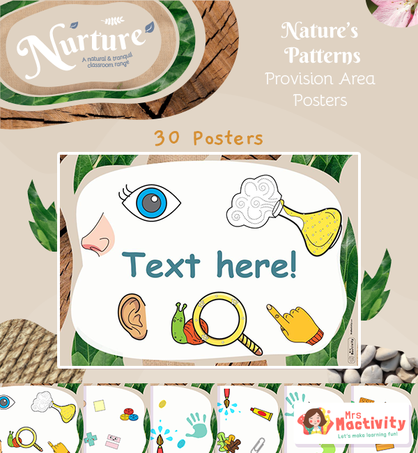 Nurture with Nature Editable Provision Area Posters