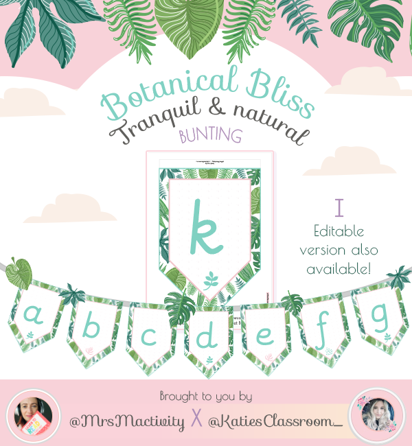 Curly k and Loopy f Botanical Bliss lower case Display Bunting
