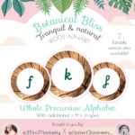 Botanical Bliss Display Pre-cursive Curly K and Loopy F Wooden Alphabet Discs