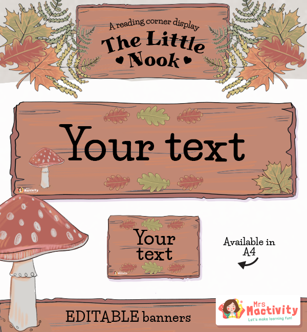 The Reading Nook Reading Corner Editable Display Banners