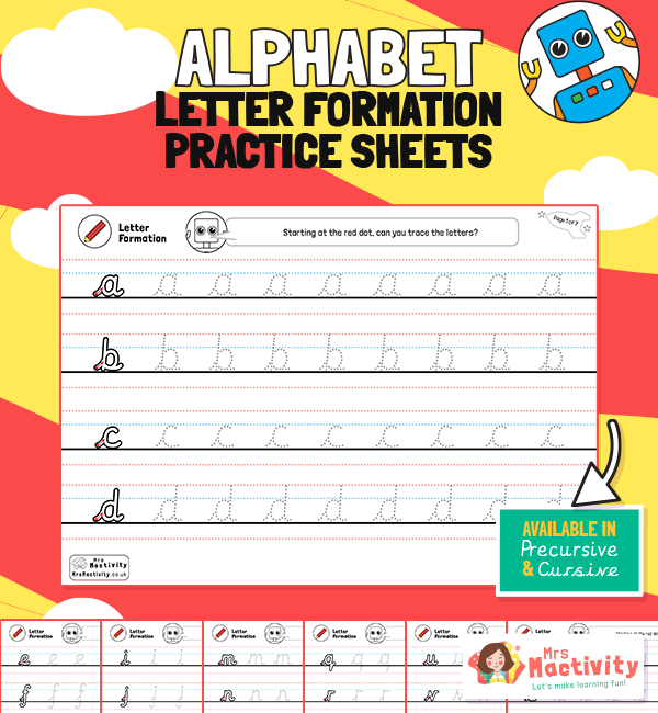 Alphabet Letter Formation Practice Sheets - Robot Themed