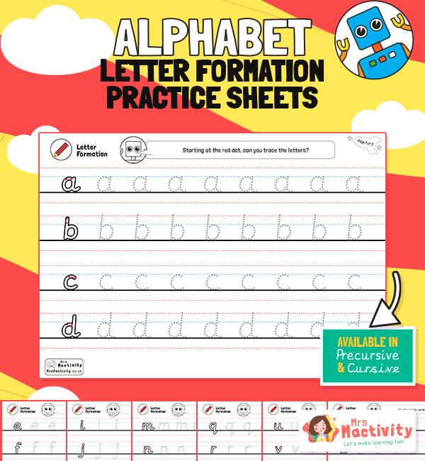 Letter formation sheets Alphabet lowercase PRECUR