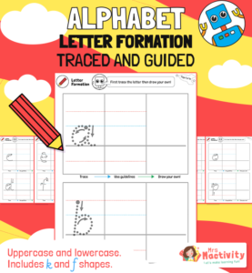 Alphabet Letter Formation Tracing With Guides
