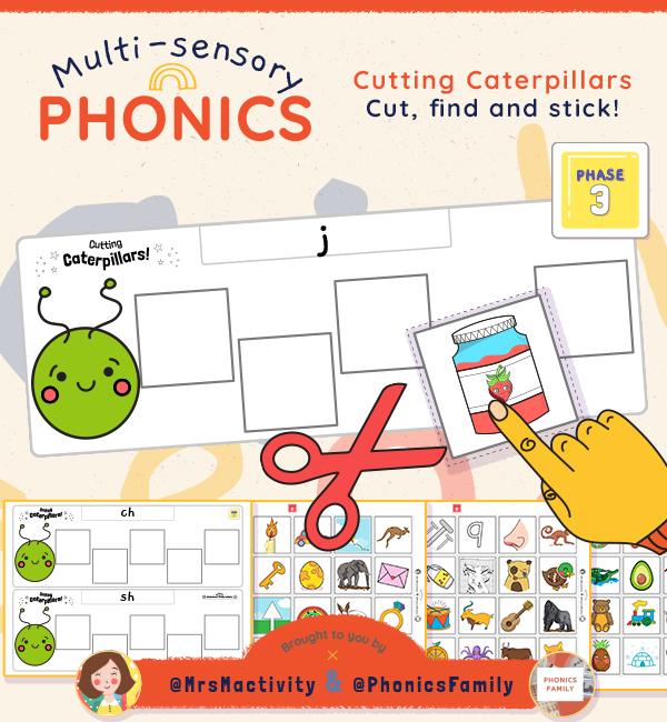 Phonics Family Cutting Caterpillars Phase 3