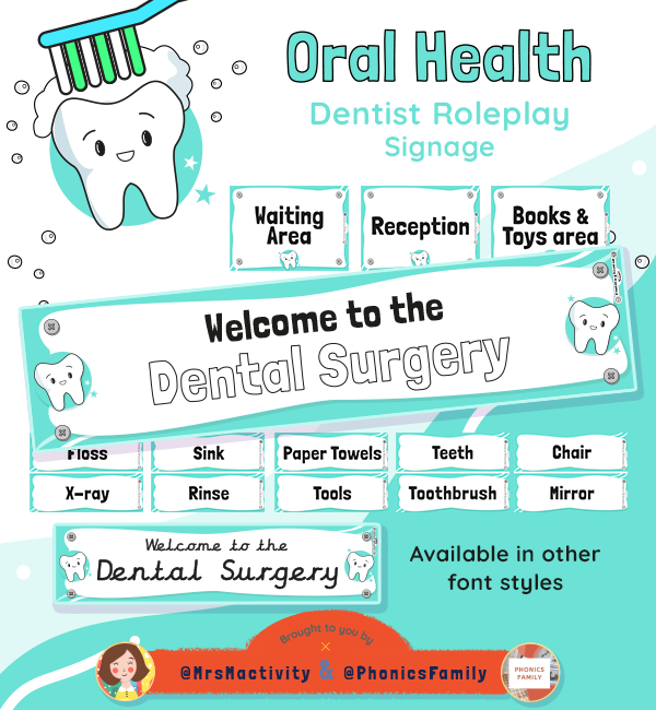 Dentist Role Play Signs