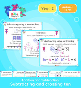 This is the first lesson on subtracting a one-digit number from a number up to 19 and crossing the number ten. It is a recap of an objective taught during the Year 1 curriculum. Topic/Block: Addition and subtraction White Rose Maths Small Steps: Subtraction - crossing ten. NC Links: Recall and use addition and subtraction facts to 20 fluently. Add and subtract numbers using concrete objects, pictorial representations and mentally. Ready-to-progress criteria: Year 1 Conceptual Prerequisites: Learn and use number bonds to 10. Partition numbers within 10. 2AS-1 Add and subtract across 10 TAF Statements: Working Towards: Add and subtract (one-digit numbers) explaining their method verbally, in pictures, or using apparatus. Recall at least four of the six number bonds for 10 and reason about associated facts. Working At: Recall all the number bonds to and within 10. Greater depth - Using reasoning about numbers and relationships to solve more complex problems and explain their thinking.