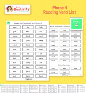 Phonics Reading Word Lists Phase 4 2