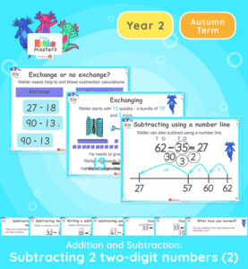 Year 2 | Subtracting 2 Two-Digit Numbers Part 2 Lesson Presentation