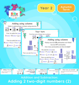 This lesson focuses on adding 2 two-digit numbers which cross a tens boundary and require an exchange of ones and tens. Topic/Block: Addition and subtraction White Rose Maths Small Steps: Add two 2-digit numbers - crossing ten-add ones and add tens. NC Links: Recall and use addition and subtraction facts to 20 fluently and derive and use related facts to 100. Add and subtract numbers using concrete objects, pictorial representations and mentally, including: two two-digit numbers Solve problems with addition and subtraction: using concrete objects and pictorial representations. Ready-to-progress criteria: Year 1 Conceptual Prerequisites: Add and subtract within 10. Know that a multiple of 10 is made up of a number of tens. 2AS-4 Add and subtract within 100 by applying related one-digit addition and subtraction facts: add and subtract any 2 two-digit numbers TAF Statements: Working Towards: Add and subtract (one-digit numbers) explaining their method verbally, in pictures, or using apparatus. Recall at least four of the six number bonds for 10 and reason about associated facts. Working At: Recall all the number bonds to and within 10, and use these to reason with a calculate bonds to and within 20, recognising associated additive relationships. Greater depth - Using reasoning about numbers and relationships to solve more complex problems and explain their thinking.