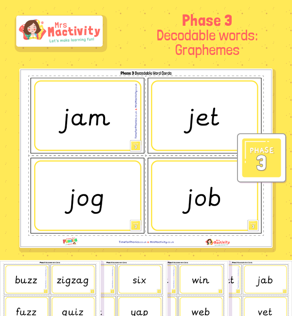 Phase 3 Graphemes Decodable Word Cards