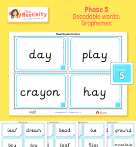 Phase 5 decodablewords graphemes Cards Preview